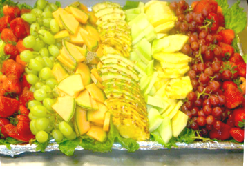 A delicious and decorative fruit platter created by Metro City              Wings Catering.