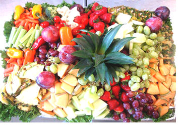 An abundant platter of beautifully arranged fruit created by Metro City              Wings Catering.