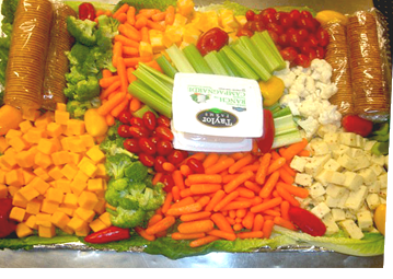A bountiful platter of fresh vegetables created by Metro City              Wings Catering.